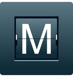 Letter M from mechanical scoreboard vector image