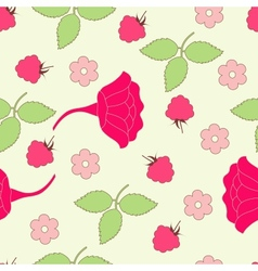 Seamless leafs and berry background vector