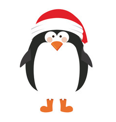 silhouette of penguin with boots and christmas hat vector image