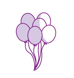 Silhouette balloons party to happy birthday vector