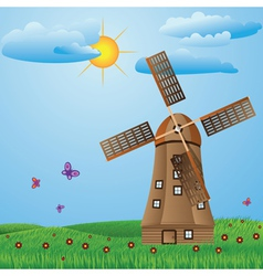 Windmill on meadow vector