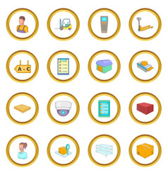Warehouse store icons circle vector