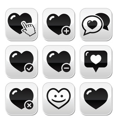Heart love buttons set vector image
