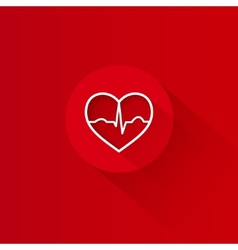 Flat long shadow red heart ecg design vector