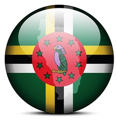 Map on flag button of commonwealth of dominica vector