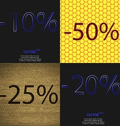 50 25 20 icon set of percent discount on abstract vector