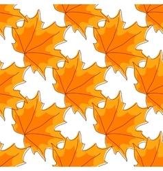 Autumnal orange maple leaves seamless pattern vector