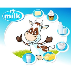 Blue design with dairy products and funny cow - vector