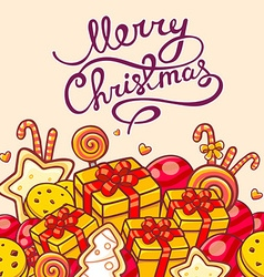 Red and yellow christmas items and hand w vector