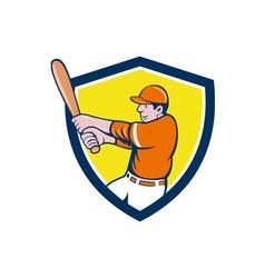 Baseball player batter swinging bat crest cartoon vector