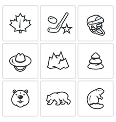 Set of Canada Icons Maple Leaf Hockey vector image