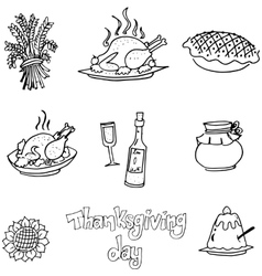 Doodle of thanksgiving element food vector