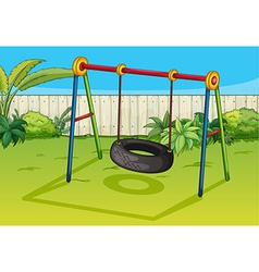 A swinging tyre vector image