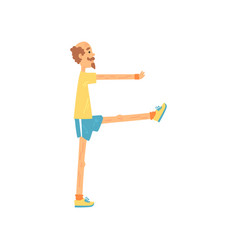 Adult male rising legs one by one balance vector