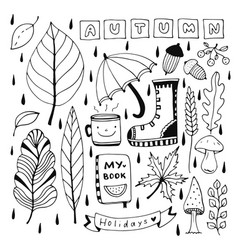 Autumn doodle set for seasonal decorations vector