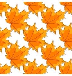 Autumnal orange maple leaves seamless pattern vector image vector image