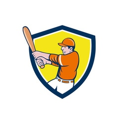 Baseball player batter swinging bat crest cartoon vector