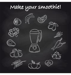 Blender and smoothie ingredients on chalkboard vector image