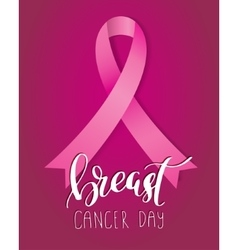 Breast cancer awareness pink ribbon with lettering vector