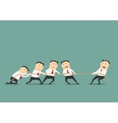 Businessman tug of war with group vector image vector image
