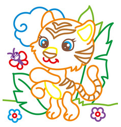 coloring book of tiger playing vector image vector image
