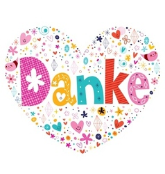 Danke - thanks in german typography lettering card vector