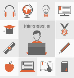 Elearning icon set vector