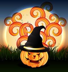 Evil halloween pumpkin vector