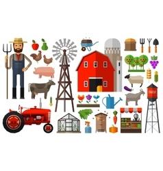 Farm in village logo design template vector image