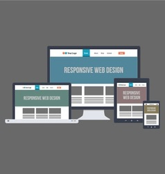 Flat Responsive Website Design vector image