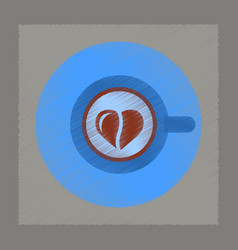 flat shading style icon coffee cup heart vector image