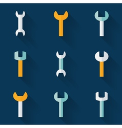 Flat wrench icon set over blue vector image vector image