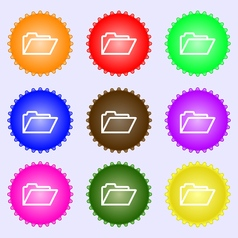 Folder icon sign A set of nine different colored vector image vector image