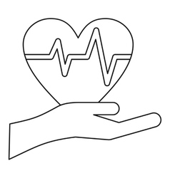 Hand holding heart icon outline style vector image vector image