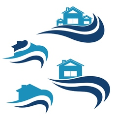 House and waves icon vector image vector image