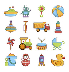 Kids toys icons set cartoon style vector