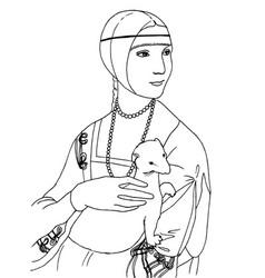 Lady with the ermine leonardo da vinci artwork vector