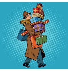 Man with christmas gifts vector