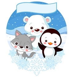 North Pole Animals vector image vector image