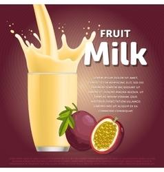 Passion fruit sweet milkshake dessert cocktail vector