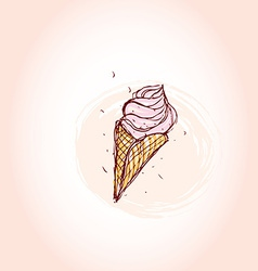 pink ice cream Hand drawn sketch on pink vector image vector image