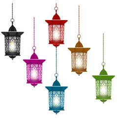 Ramadan kareem six multi-colored lanterns in vector