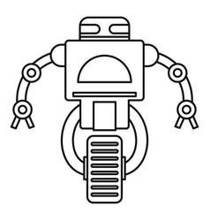 robot on wheel icon outline style vector image