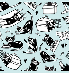 seamless pattern with funny doodle cat in vector image