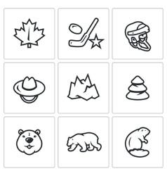 Set of canada icons maple leaf hockey vector