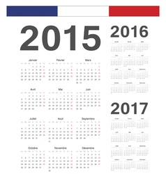 Set of French 2015 2016 2017 year calendars vector image vector image
