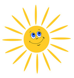 Smiling sun on white background vector