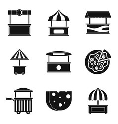 Street pavilion icons set simple style vector