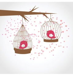 Vintage card with two cute birds in retro cages vector image
