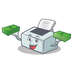 With money printer mascot cartoon style vector